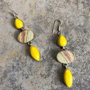 Vintage Sterling Silver Yellow Dangle Earrings